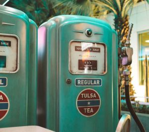 Colorful old gas pump